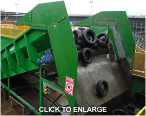 Haith feeder working on recycled tyres, delivered to a shredding plant