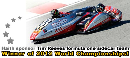 Haith sponsor Tim Reeves formula one sidecar team - Winners 2012 World Championship