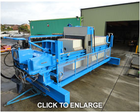 40 ton - 2mtr x 65 chamber plate press with automatic waste unloading and high pressure plate cleaning system